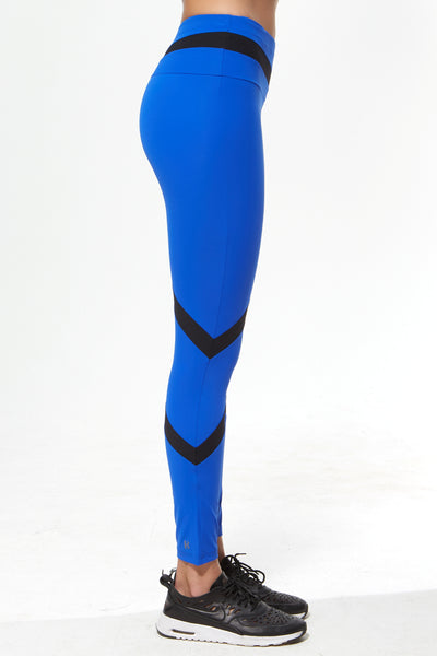 Tri Colour Blocked Legging (Medium Compression) - Electric Blue Black