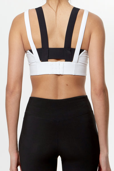 Compression Support Bra - White Black Red