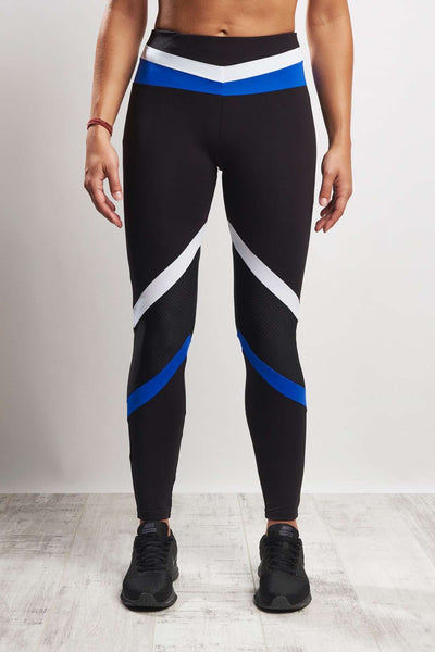 Tri Colour Blocked Legging (Medium Compression) - Black White Blue