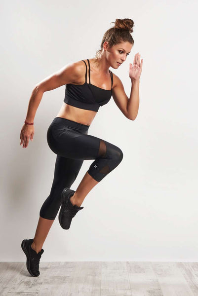 Cropped Fashion Legging (Medium Compression) - Black