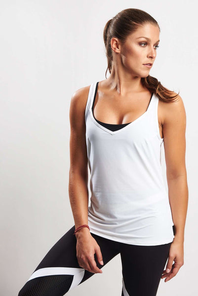 Grace Tank 2 in 1 (Incl Separate Bra) - White Tank Black Bra