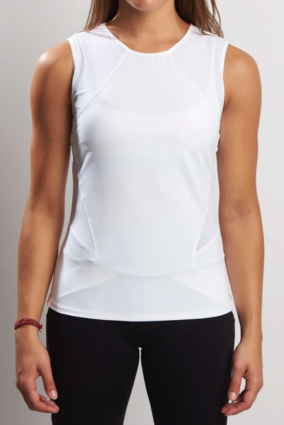 Scoop Neck Mesh Panel Tank - White