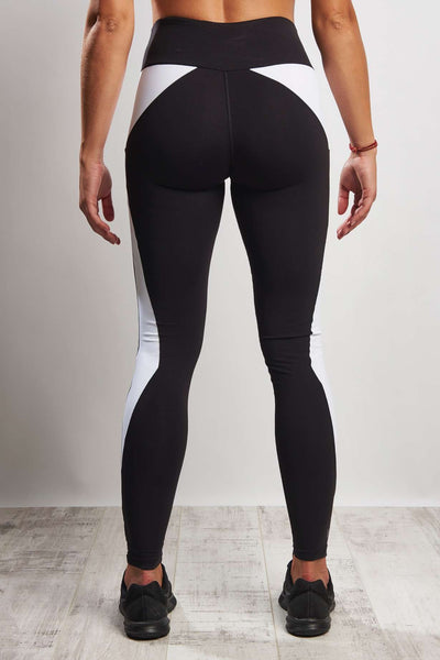 Colour Block Ying Yang Legging (Medium Compression) - Black White