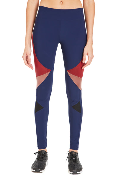 Long Compressive Fashion Leggings - Navy Oxblood Rose Gold