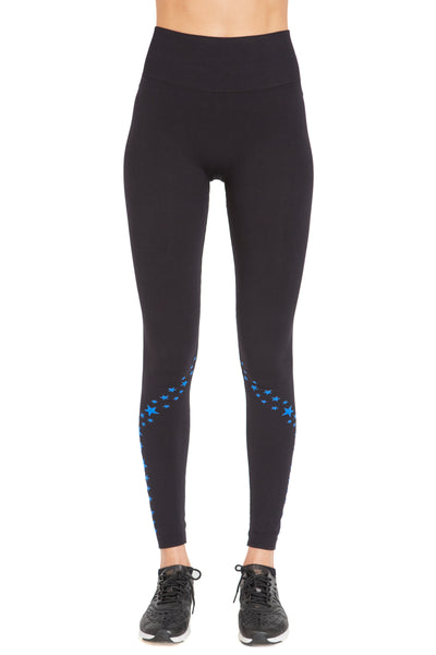 Seamless Star Leggings - Black w Cobalt