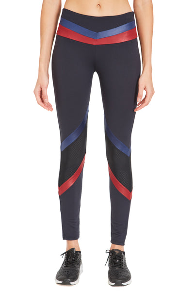 Tri Colour Blocked Legging (Medium Compression) Black Navy Oxblood