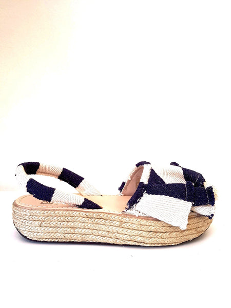 BALTARINI MAMBO platform abarca sandal with ruffle in navy stripe
