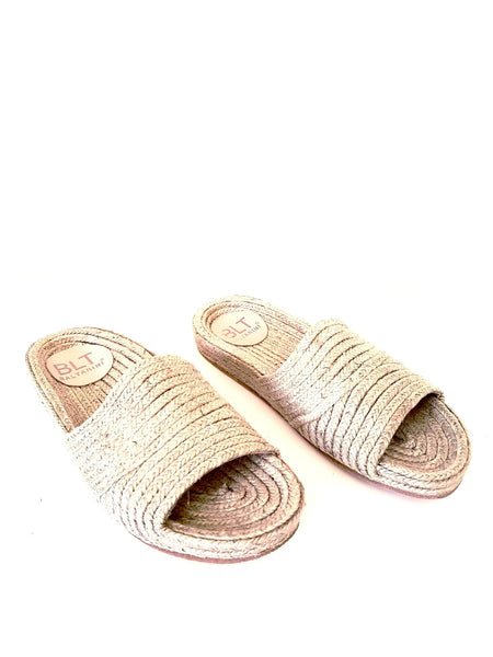 "BALTARINI NICOLE flat ""fussbett"" slide in natural jute"