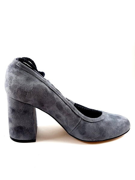 Piluca Gray suede block heel pumps with contrasting tie