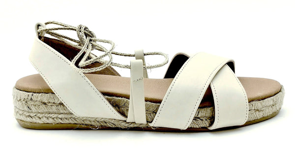 Romana Flat Tie Up Sandal Espadrille in Ivory Leather