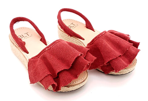 BALTARINI MAMBO platform abarca sandal with ruffle in red canvas