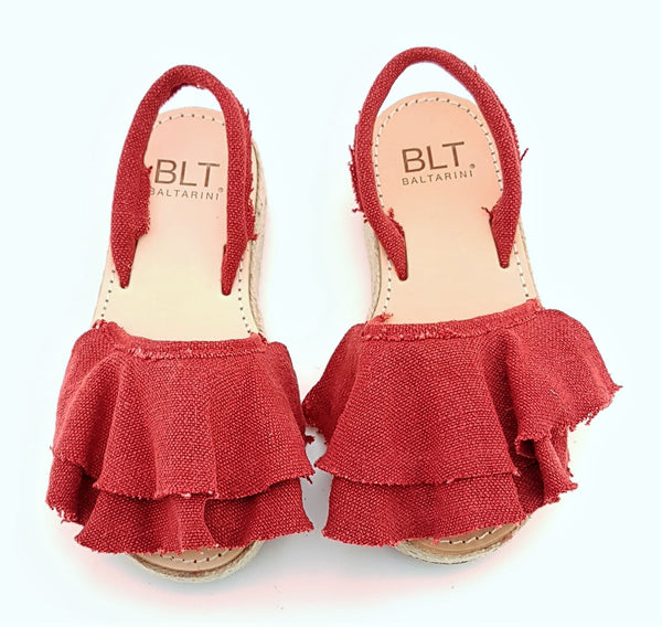 Mambo platform abarca sandals with Red canvas ruffle
