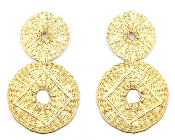 Large double disc raffia earrings in Natural with embroidered design