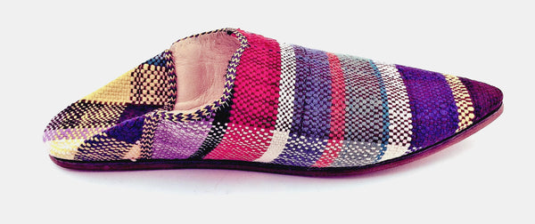 Upcycled Babouches from Vintage Moroccan blankets Multicolor Plaid