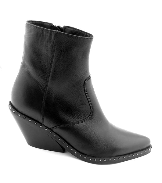 Cowboy Bootie in black leather