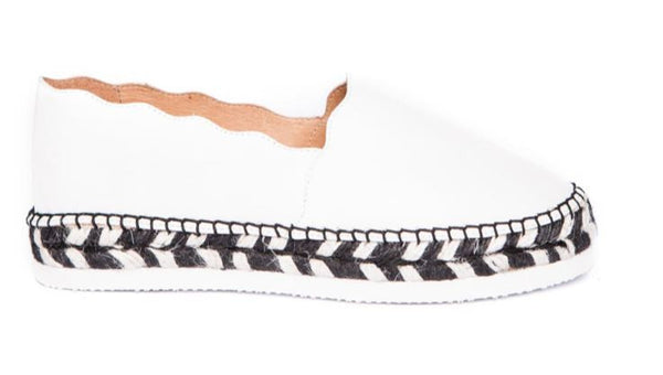 White nappa leather espadrille with braided jute sole