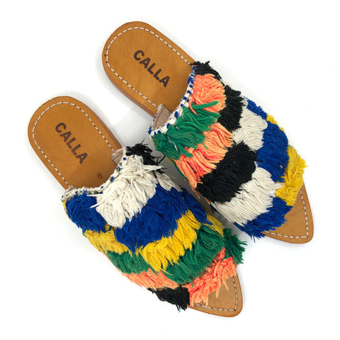 Open toe Babouche Multicolor Checker