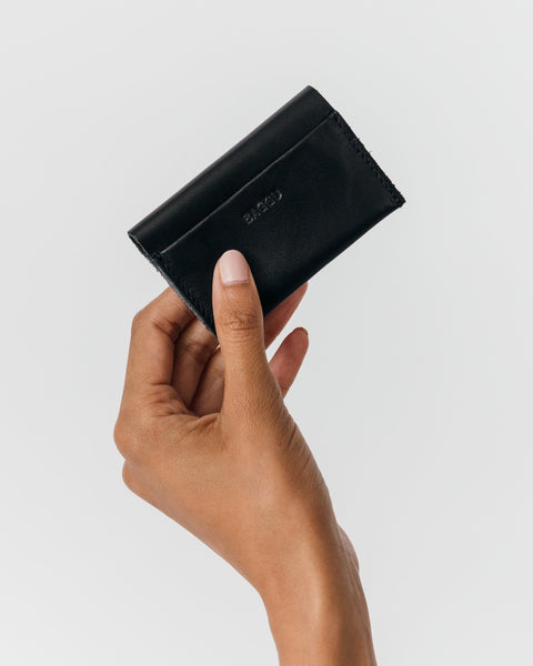 Leather simple credit card holder black