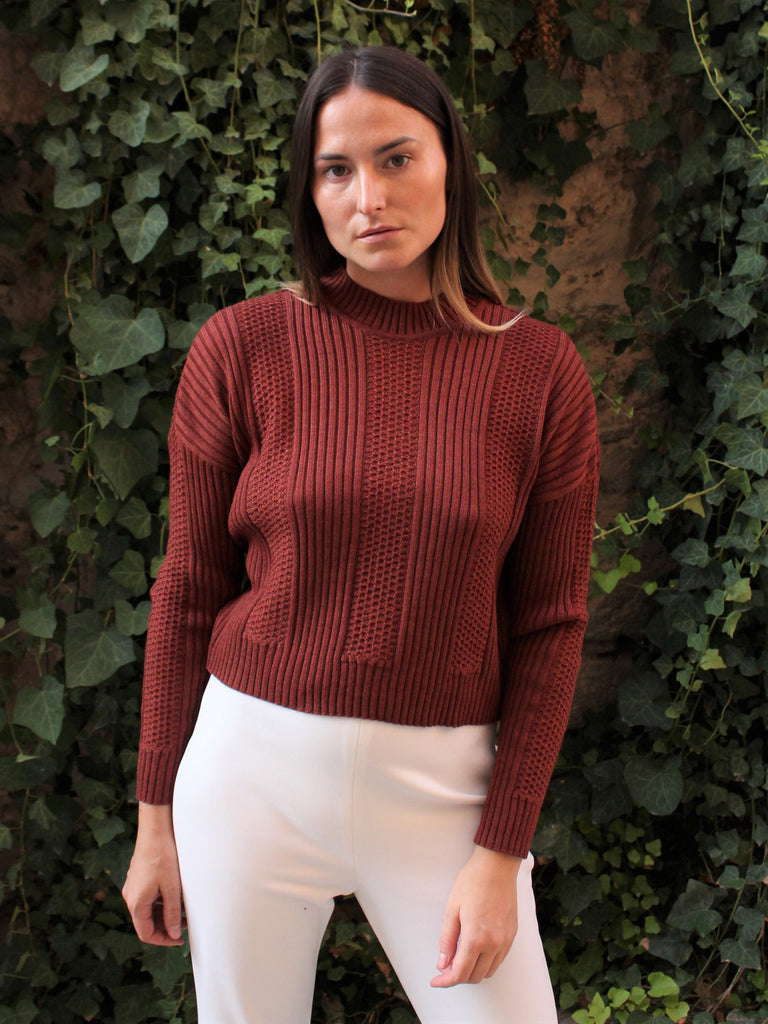 Cropped Sweater in Brick by Diarte