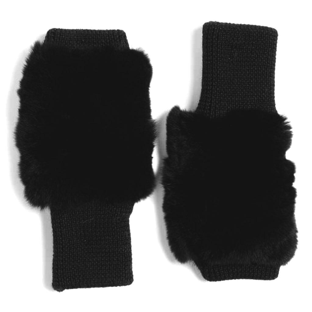 Finger-less Mittens with Rex rabbit fur section