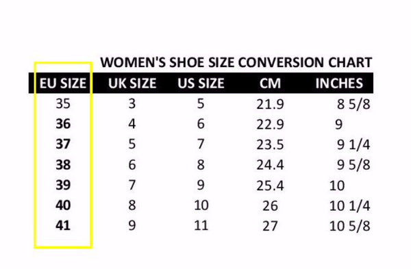 Women's shoe size conversion chart