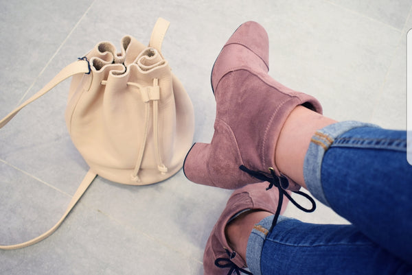 CALVINA. Baltarini stretch suede rose mid heel booties