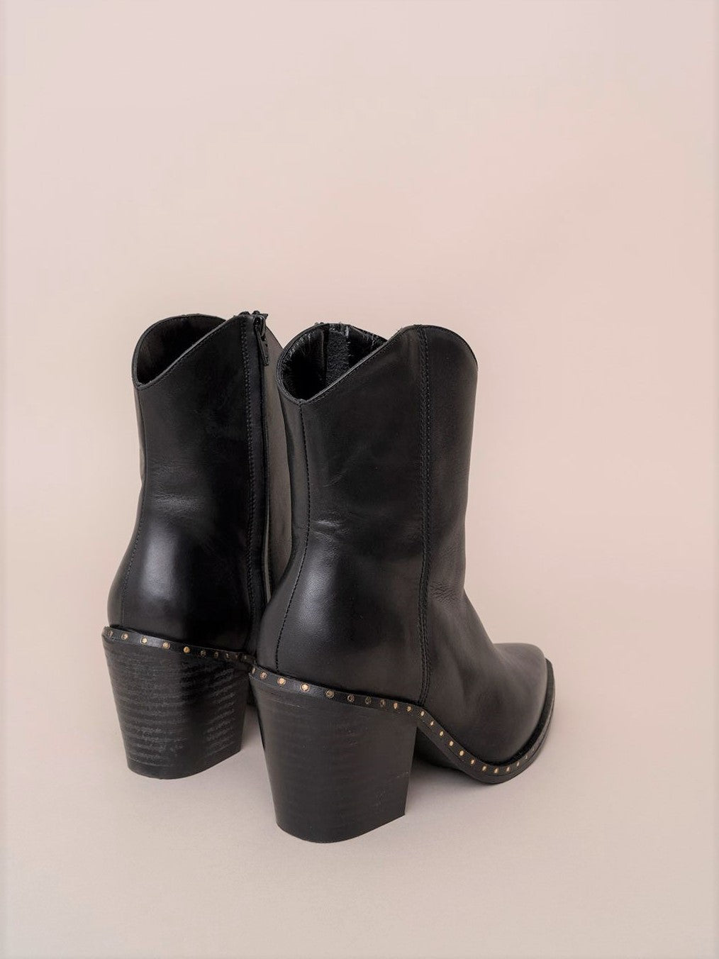 Stud detailed Cowboy Ankle Booties