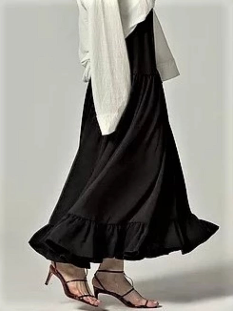 Flared Skirt With Ruffled Hem