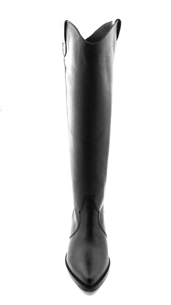 Leather Tall Cowboy Boot in black