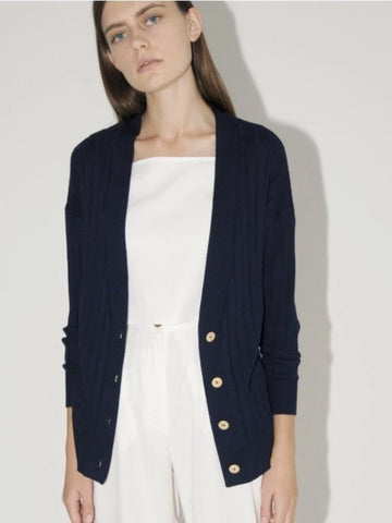 Ribbed Cardigan in Navy