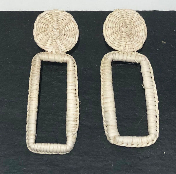 Rectangle raffia earrings