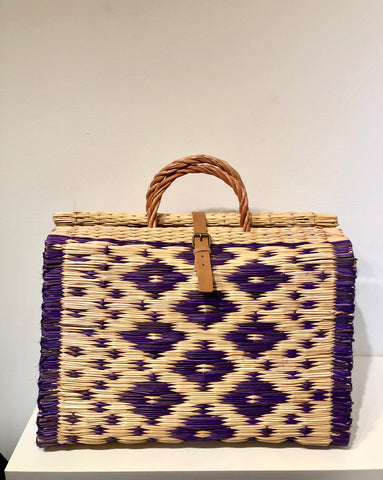 Large Purple/Natural artisanal beach basket