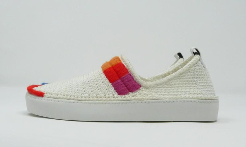 Crocheted sneakers embroidered in multi color. Rainbow shades