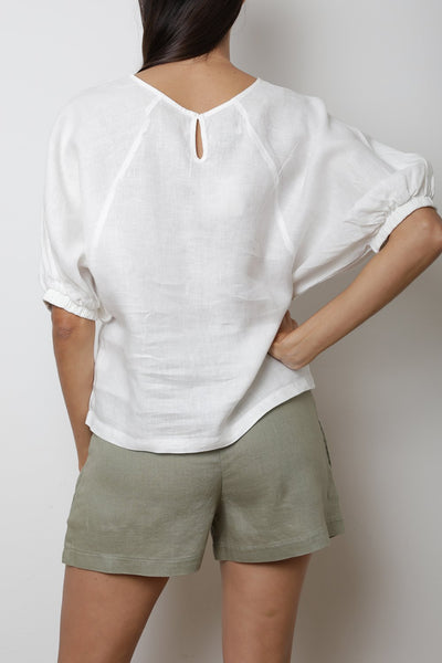 Balloon Sleeve Linen Top
