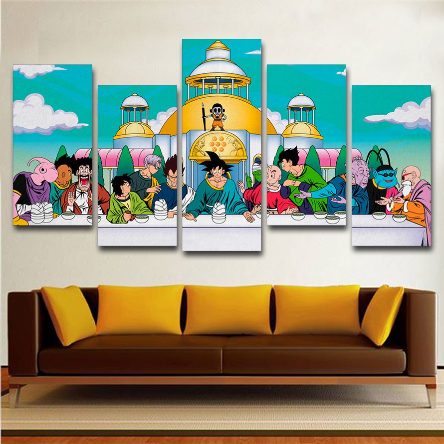 Dragon Ball - The Last Supper 5 Pieces Canvas Painting | Lowkid