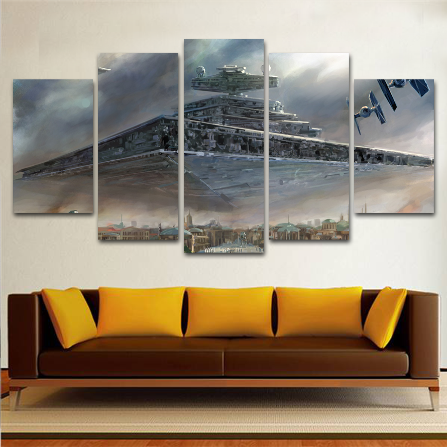 5 Panels Canvas Painting Destroyer Star Wars Movie Wall Art