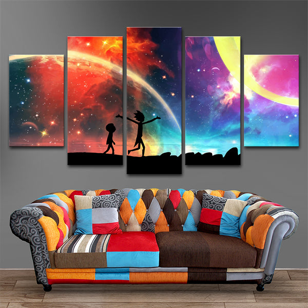5 Panels Rick and Morty Canvas Painting | Lowkid
