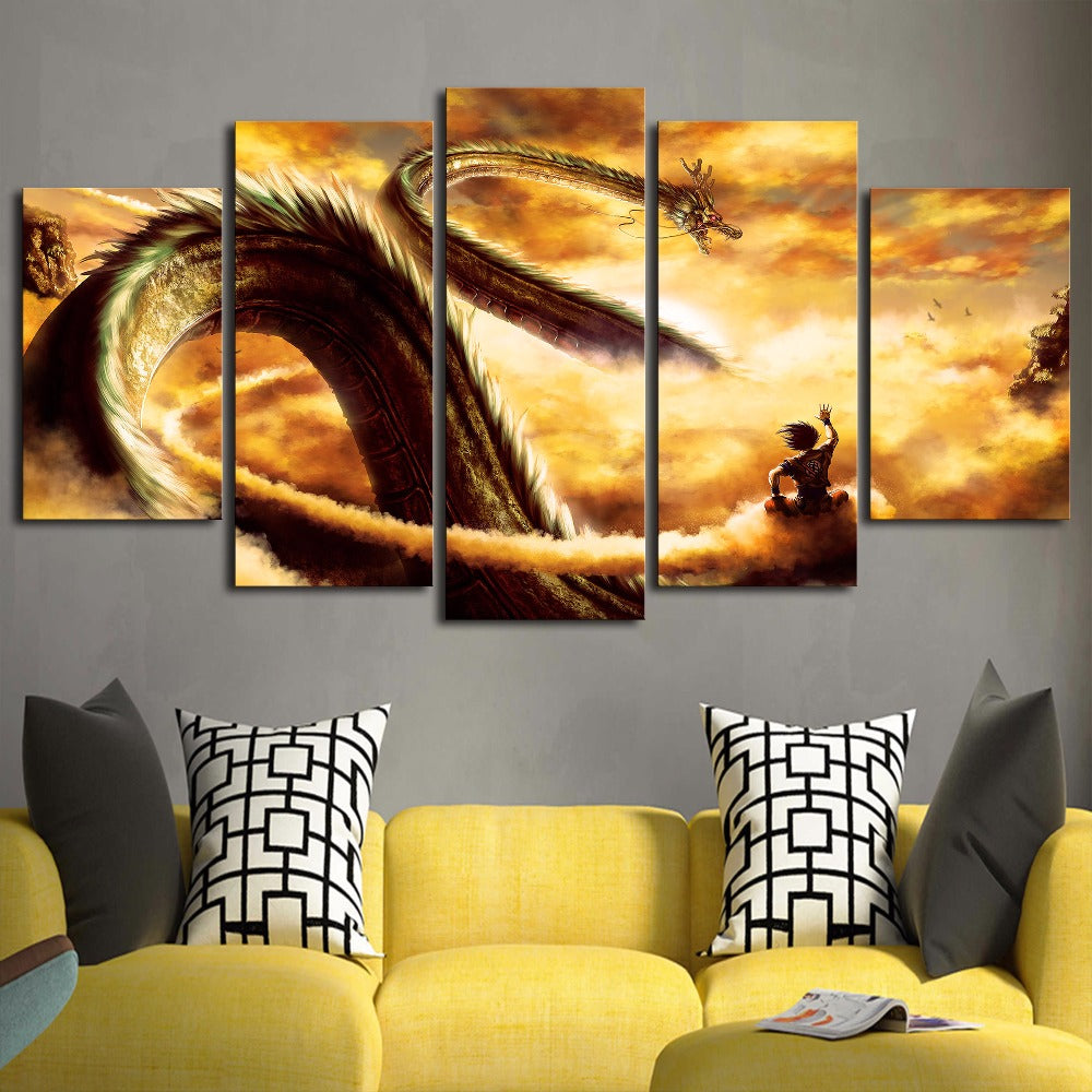 Dragon Ball Z Goku & Shenron Wall Art Canvas Painting | Lowkid