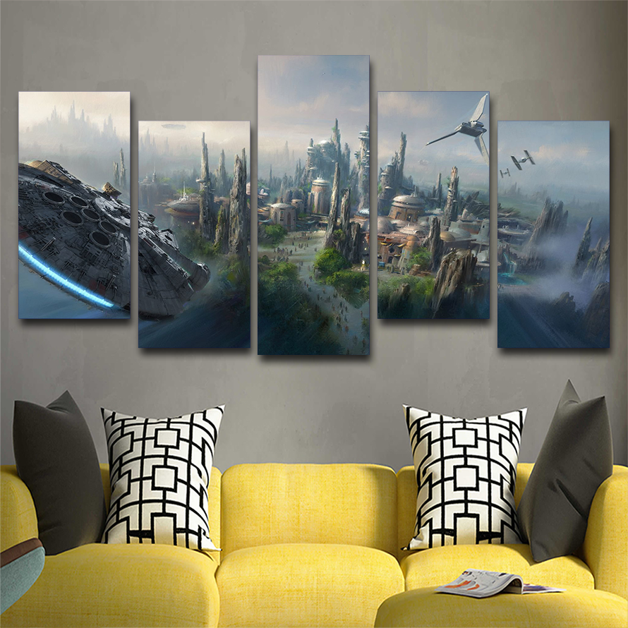 5pc Star Wars World Canvas Wall Art Painting Modern Home