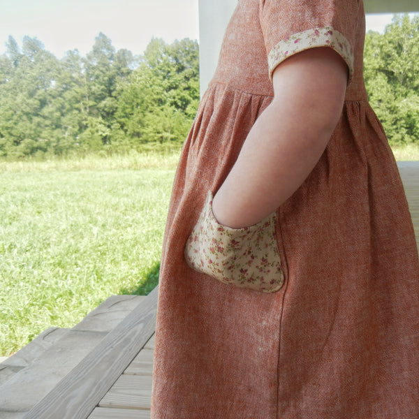 [Macy] Yellow Linen Pocket Dress