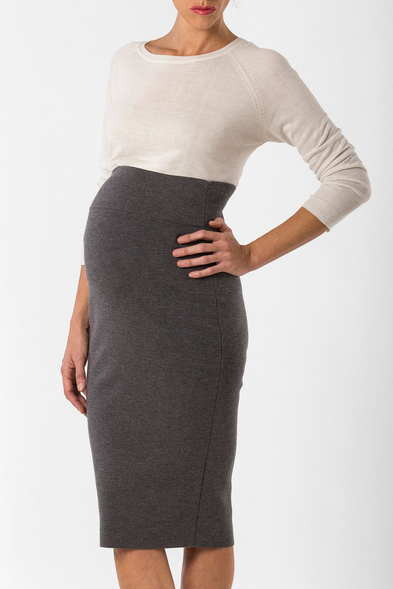 ada skirt - high waisted breastfeeding skirt - grey