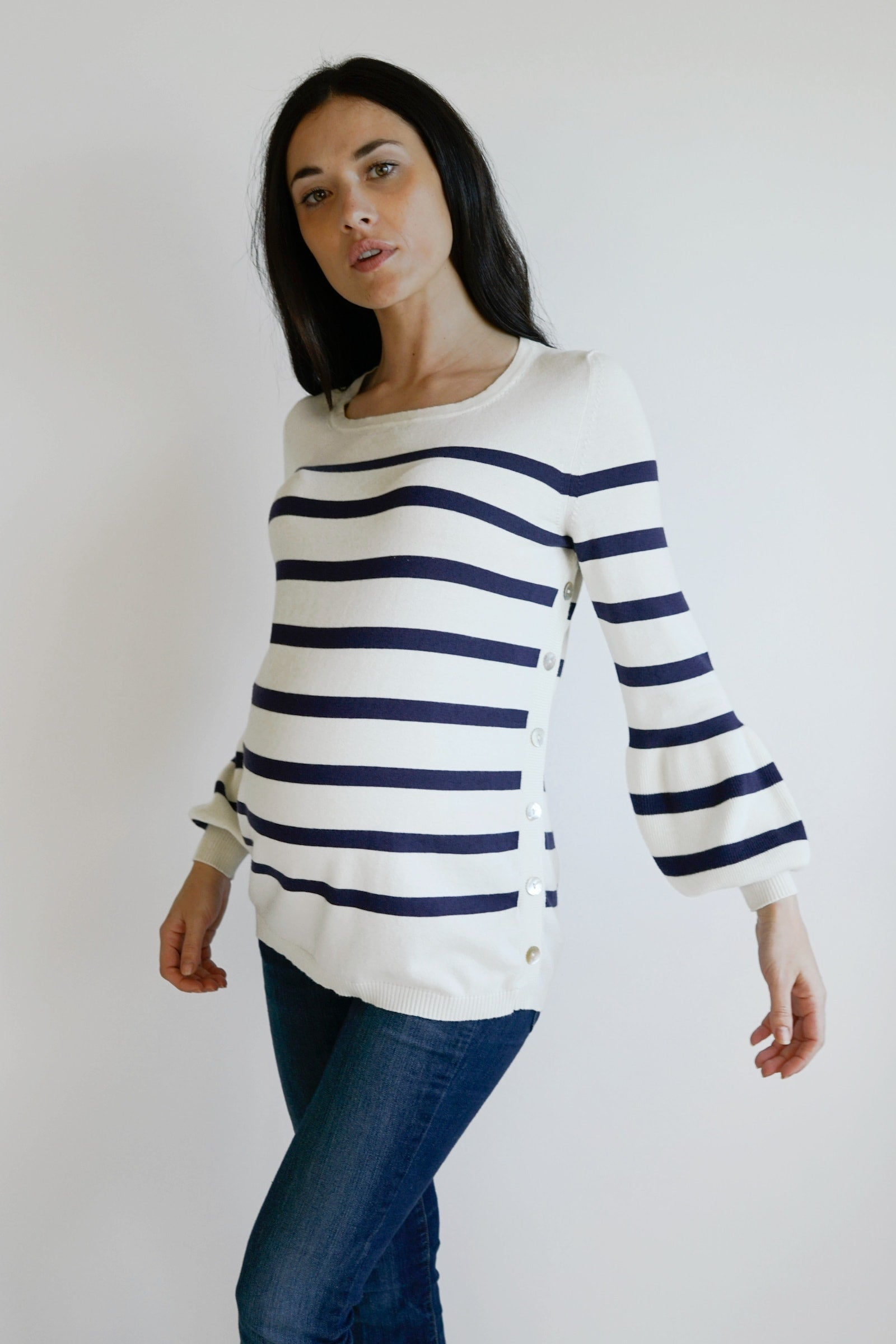 Anita Striped Nursing Maternity Sweater - ivory striped