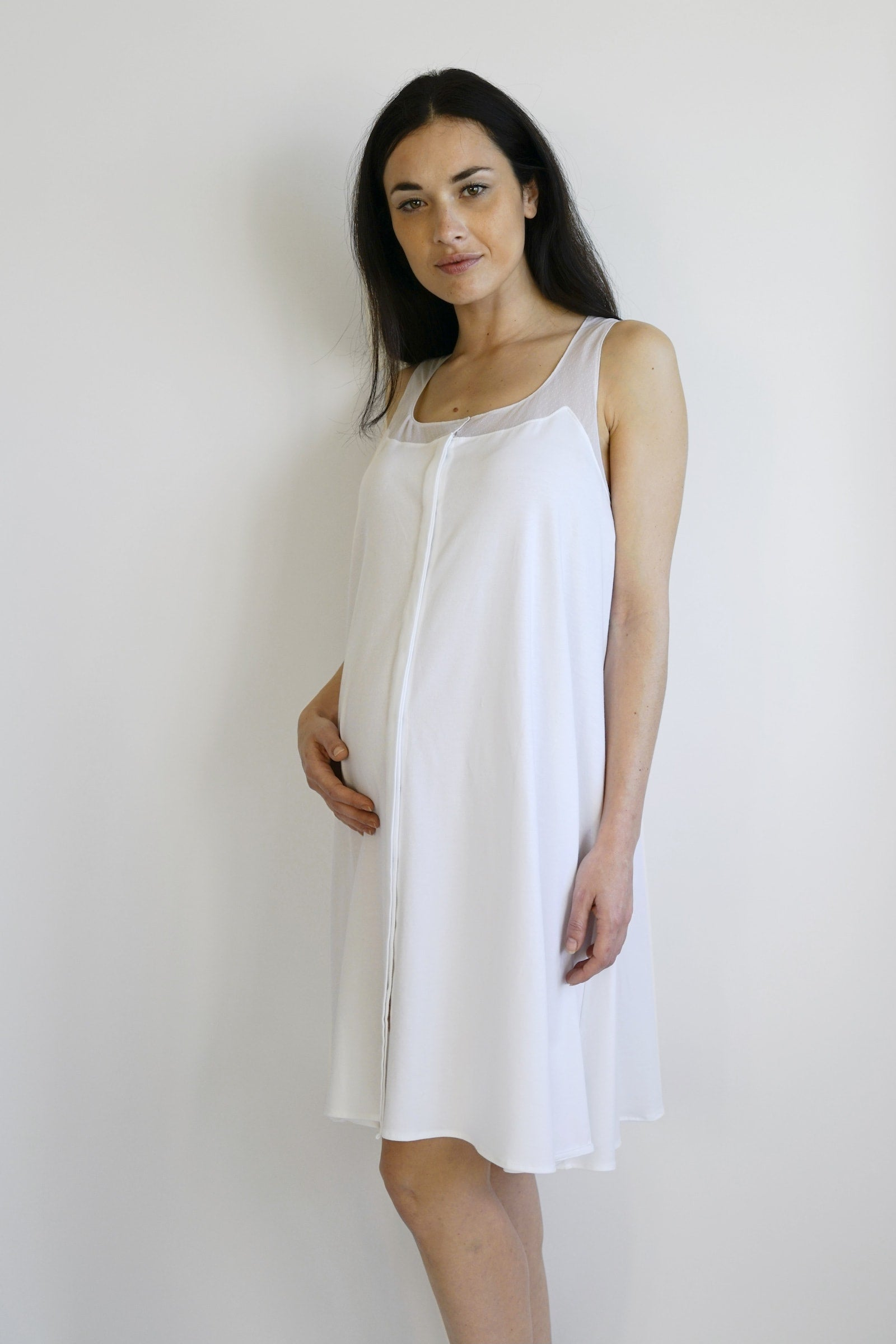 Annalisa Maternity Nightgown - white