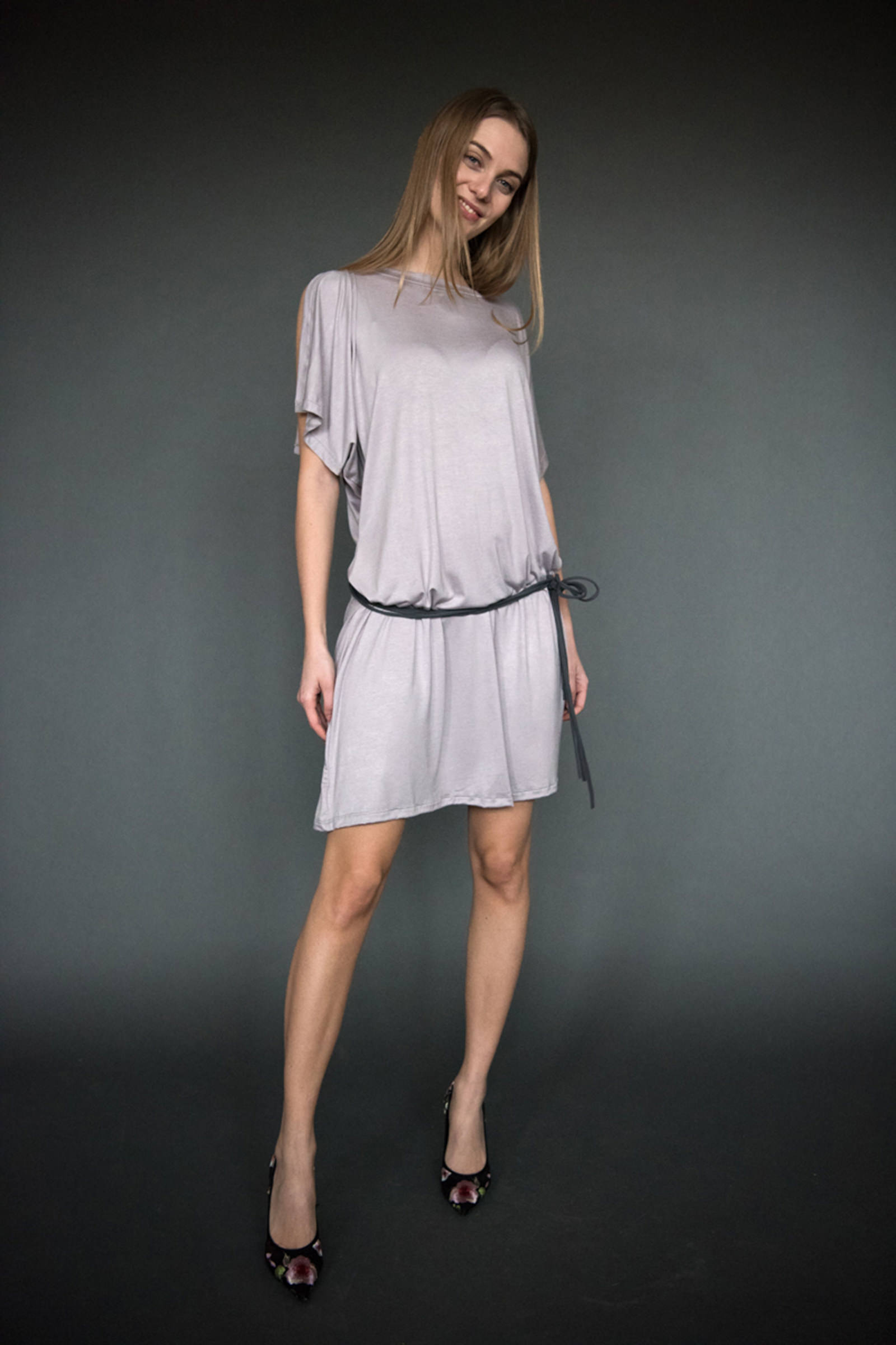 Artemis dress - front - belted - lilac grey