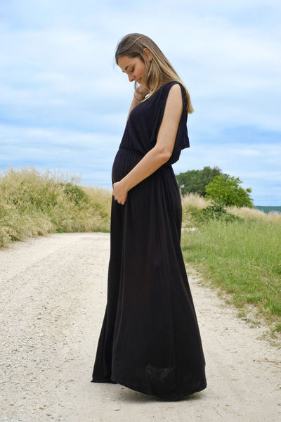 athena maternity maxi dress - black