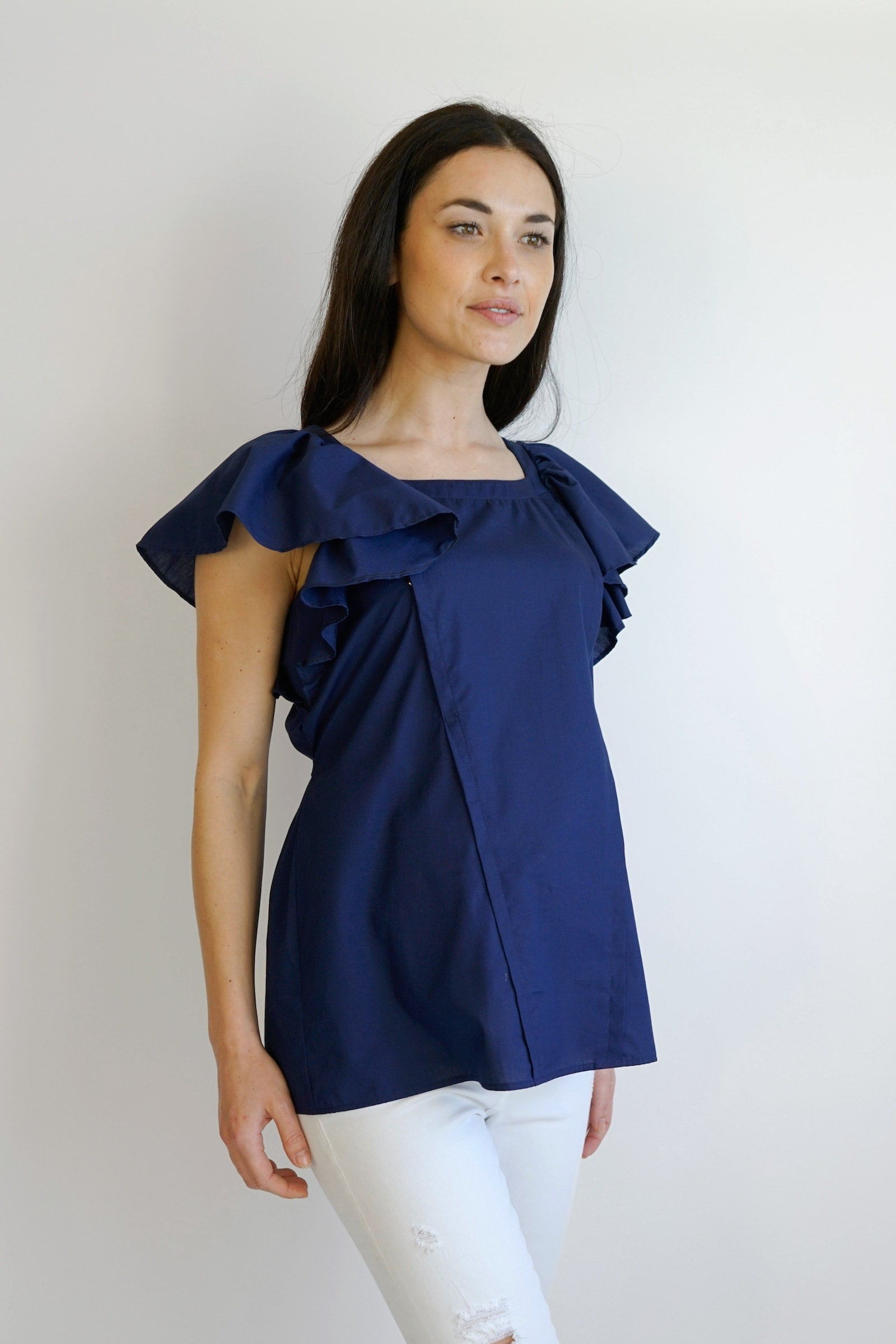 Celeste Maternity Nursing Top - navy
