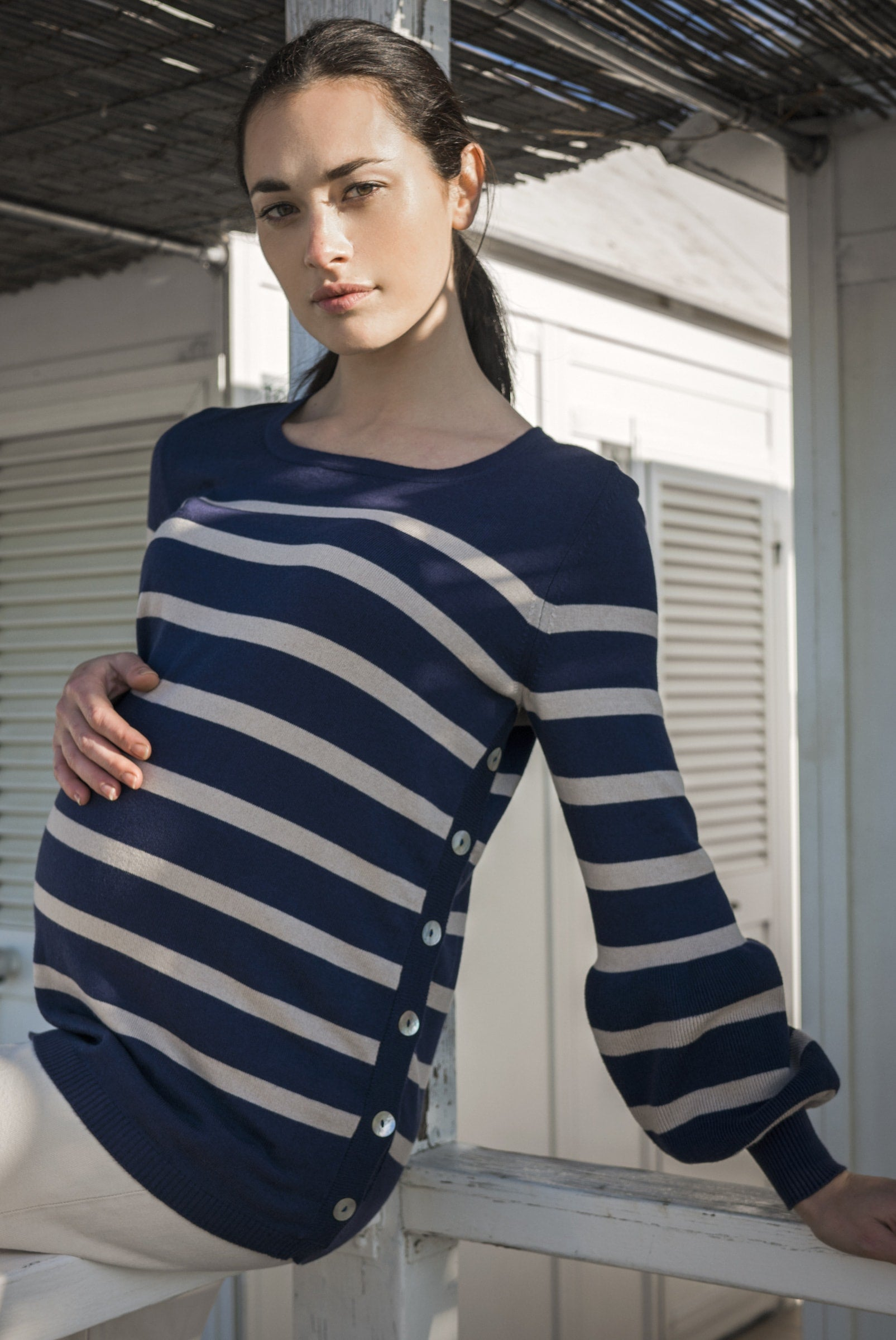 Anita Striped Maternity Sweater - Navy