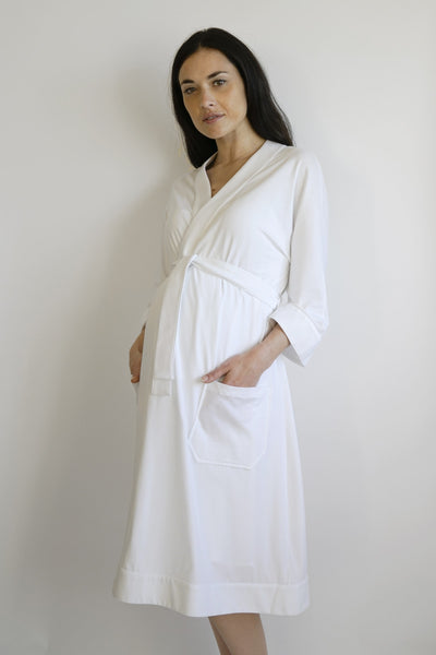 eleonora maternity robe - white