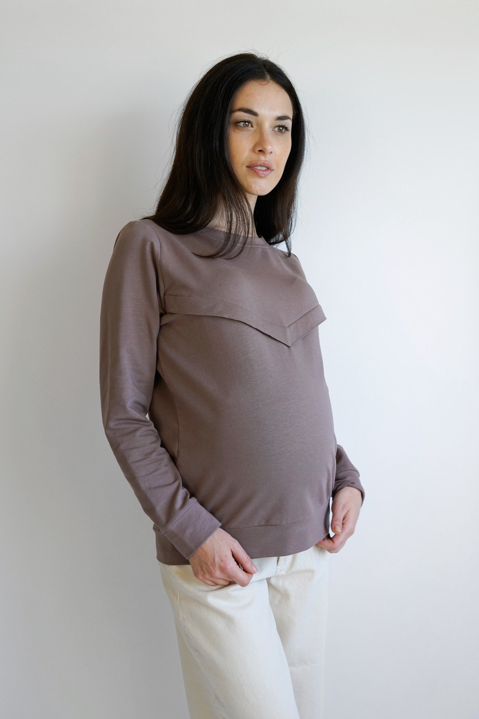 gemma maternity top - coffee