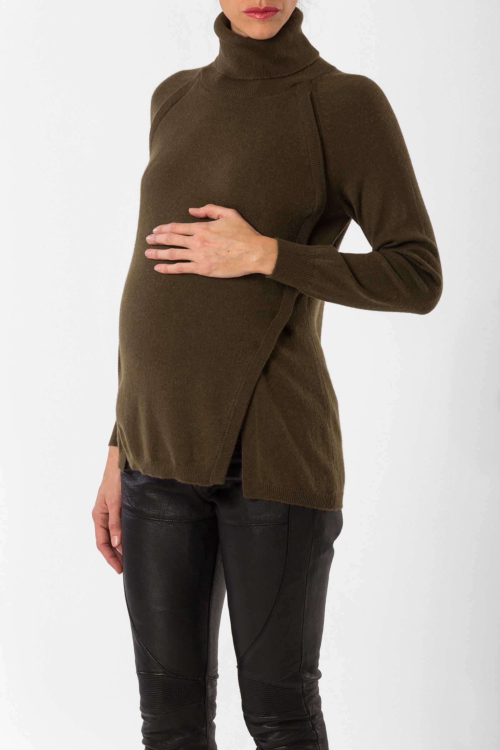 katelyn turtleneck - nursing sweater - cashmere turtleneck - military